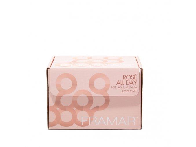 Framar R-EMB-MRG Rosé All Day Foil Roll Medium Embossed 5x11 -stredne pevný svetlo ružový texturovaný alobal, 98 m